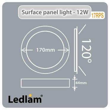 LED Aufbauleuchte 12 Watt rund 17cm Design - Alu gebürstet - neutralweiß - dimmbar – Bild 5