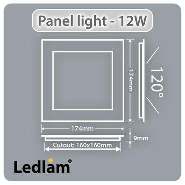 LED Einbaustrahler 12 Watt quadratisch 17x17cm schwarz chrom - warmweiß – Bild 3