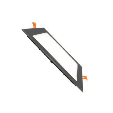 LED Einbaustrahler 12 Watt quadratisch 17x17cm schwarz chrom - warmweiß – Bild 1