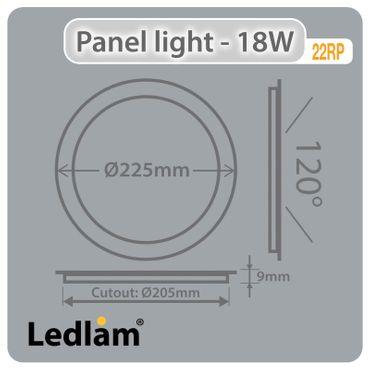 LED Einbaustrahler 18 Watt rund 22cm Alu gebürstet - warmweiß - dimmbar – Bild 4