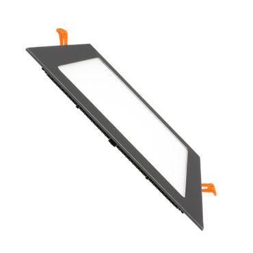 LED Einbaustrahler 18 Watt quadratisch 22x22cm schwarz chrom - warmweiß – Bild 1