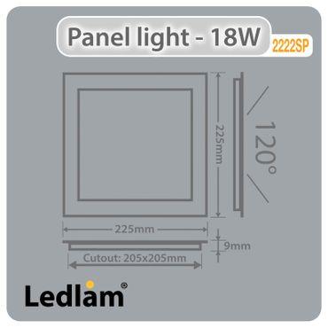 LED Einbaustrahler 18 Watt quadratisch 22x22cm Alu gebürstet - warmweiß - dimmbar – Bild 4