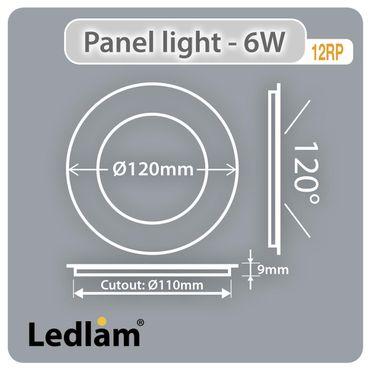 LED Einbaustrahler 6 Watt rund 12cm schwarz chrom - warmweiß - dimmbar – Bild 4