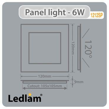 LED Einbaustrahler 6 Watt quadratisch 12x12cm schwarz chrom - warmweiß - dimmbar – Bild 3