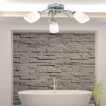 LED Deckenleuchte fürs Bad, Chrom, Opalglas, 3 Leuchtmittel – Bild 2