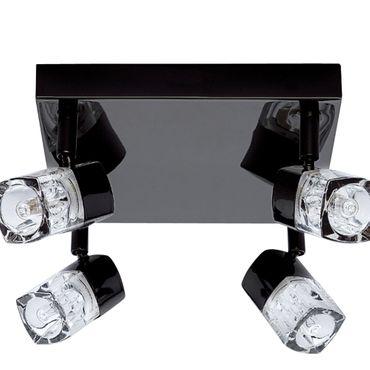 LED Deckenleuchte, Schwarzes Chrom, Klares Glas, 4 Leuchtmittel – Bild 2