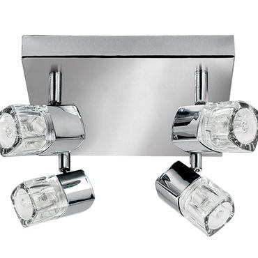 LED Deckenleuchte, 4 Spots, Chrom, Klares Glas (Ice Cube) – Bild 2