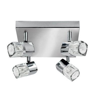 LED Deckenleuchte, 4 Spots, Chrom, Klares Glas (Ice Cube) – Bild 1