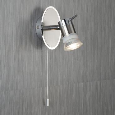 LED Wandleuchte mit Spot, Chrom & Satin Silber, warmweiß – Bild 3