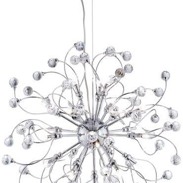 Deckenleuchte, Kristallkugeln, Chrom, 24 Leuchtmittel – Bild 4