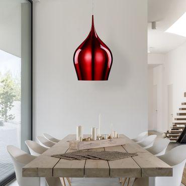 Deckenleuchte, Durchmesser 26cm, metallisches Rot – Bild 4