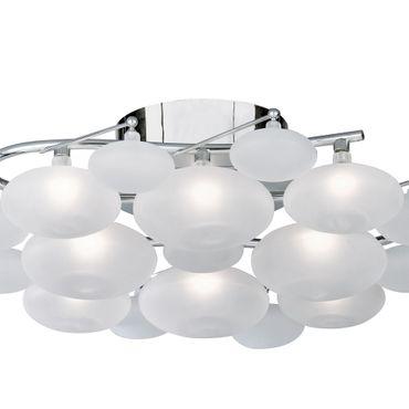 Deckenleuchte, Chrom, Mattes Glas, Wolkendesign – Bild 2