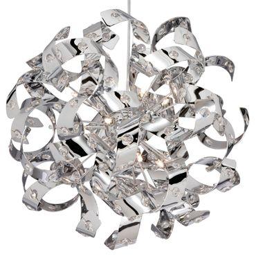 Deckenleuchte, Chrom, Kristall, 12 Leuchtmittel, Lockendesign – Bild 2