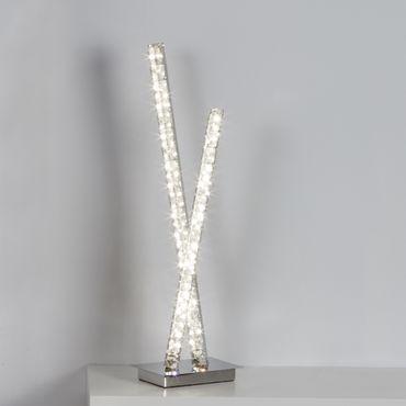 LED Tischlampe, Chrom, klares Kristallglas, 2 Arme – Bild 2
