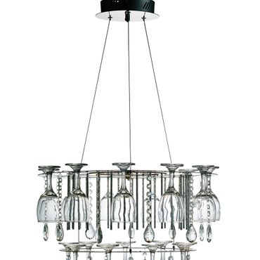LED Pendelleuchte, Chrom, Glaskristalle Tropfen, Weinglas – Bild 2