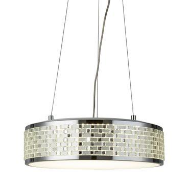 LED Pendelleuchte, Chrom, Acrylglas mit Kacheldesign, rund – Bild 1