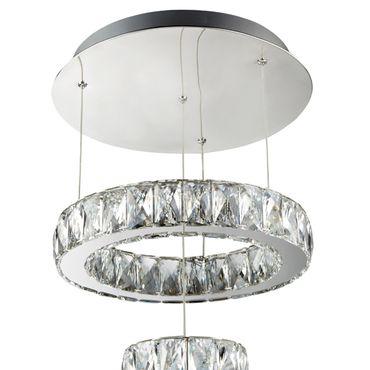 LED Pendelleuchte, 2 verschiedene Ringe, Chrom, Kristallglas – Bild 3