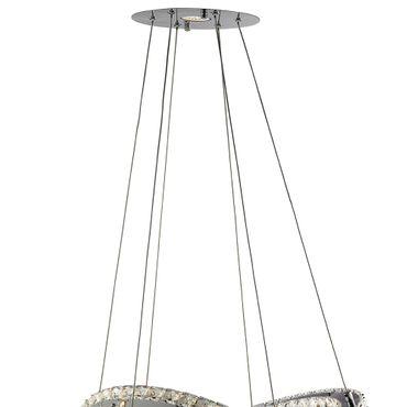 LED Pendelleuchte, 2 Ringe, Chrom, Klares Kristallglas – Bild 3