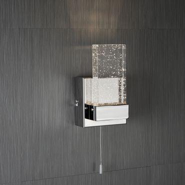 LED Wandleuchte für Badezimmer, Chrom, Glas mit Blasen – Bild 2