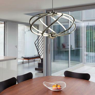 LED Pendelleuchte, Chrom, Acrylglas, beschwingtes Design – Bild 3