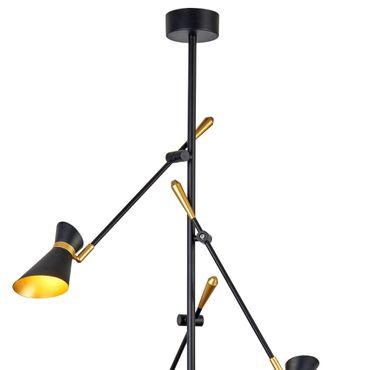 LED Deckenleuchte, 3 Verstellbare Leuchtköpfe, Schwarz, Gold – Bild 4