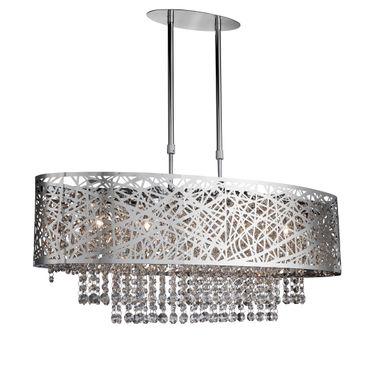 Deckenleuchte, Oval, Kristallglas, Chrom – Bild 1