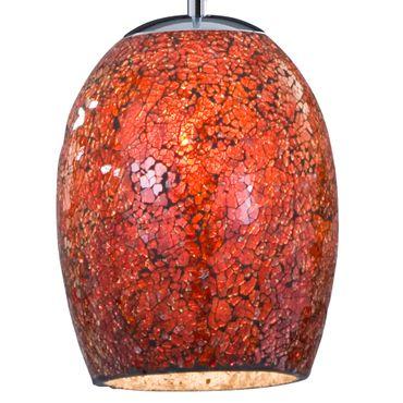 Pendelleuchte, rotes Mosaik Glas, Satin Silber – Bild 2
