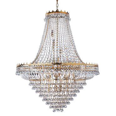Goldener Kronleuchter, Kristall, Groß, 19 Kerzen – Bild 1