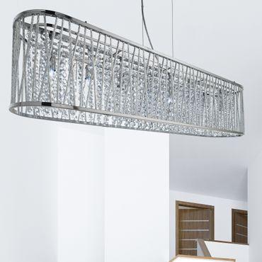 Ovale Pendelleuchte, Aluminium, Chrom, Glas – Bild 1