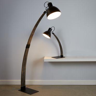 Stehlampe, bogenförmig, Schwarz, Holz – Bild 2