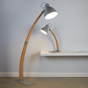 Bogenförmige Stehlampe, Grau, Holz – Bild 2
