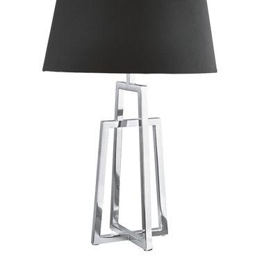 Tischlampe, silber, schwarzer Textilschirm – Bild 3