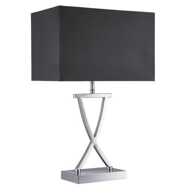 Tischleuchte, silber, schwarz, Textilschirm – Bild 1