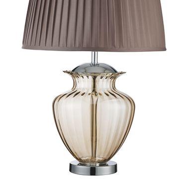 Tischlampe, brauner Textilschirm, Glas, silber – Bild 3