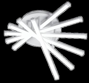 LED Deckenleuchte, Rund, 6 Leuchtarme, Weißes Aluminium – Bild 1