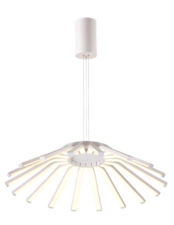 LED Pendelleuchte, Strahlenförmig, Aluminium, Weiß – Bild 1