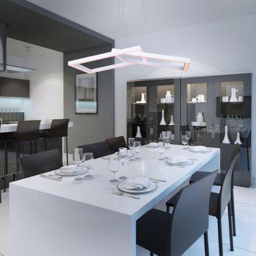 LED Pendelleuchte, 2 quadratische Leuchtelemente, Weiß, Stahl – Bild 2