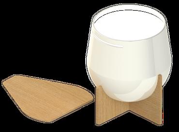 LED Tischleuchte, Weiß lackiert, Drehbar, Holz, Stahl – Bild 1