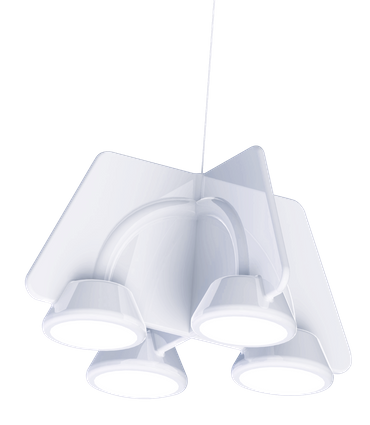 LED Design Lampe Pendelleuchte, 4-Flammig, Weiß lackiert, Dimmbar – Bild 1