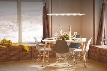 LED Design Lampe Pendelleuchte, Stabförmig, Weiß, Aluminium, Dimmer – Bild 3