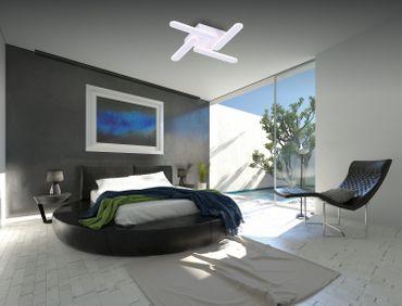 LED Design Lampe Deckenleuchte, 4 Leuchtelemente, Weißes Aluminium – Bild 3