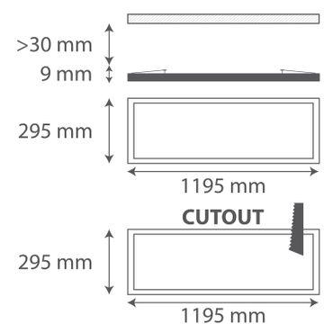 LED Einbauleuchte 36W rechteckig 30x120 Rahmenfarbe weiß - warmweiß - dimmbar mit LED Dimmer – Bild 2
