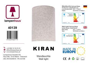 Wandleuchte Textil Oatmeal Beige – Bild 5