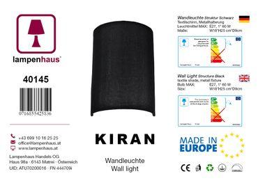 Wandleuchte Textil Struktur Schwarz – Bild 5
