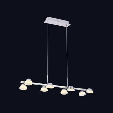 LED Pendelleuchte 8flammig lang Chrom - Opalglas  – Bild 2