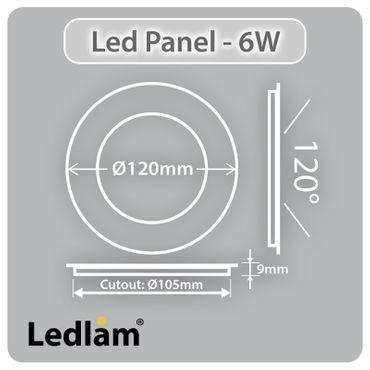 LED Einbaustrahler Panel silber rund Ø 12cm 6 Watt neutralweiß – Bild 3