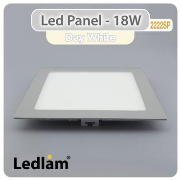 LED Panel silber quadratisch 22 x 22cm 18 Watt neutralweiß