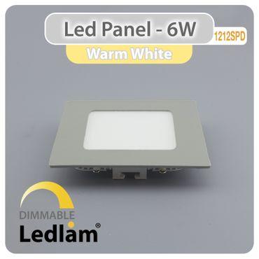LED Panel silber quadratisch 12 x 12cm 6 Watt warmweiß dimmbar mit Led Dimmer