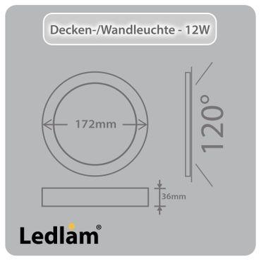 LED Deckenleuchte weiß rund Ø 17cm 12 Watt (80 Watt) 960 Lumen 4100K neutralweiß – Bild 3