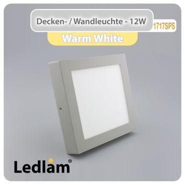 LED Deckenleuchte silber quadratisch 17*17cm 12 Watt (80 Watt) 960 Lumen 3000K warmweiß